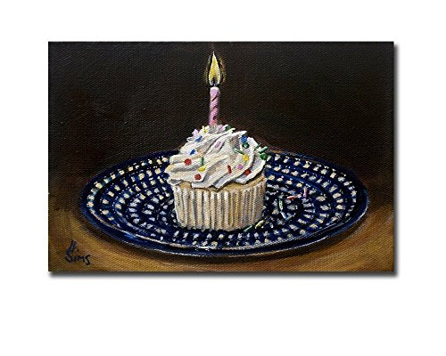 - Cupcake Art Print, Polish Pottery Plate Artwork Modern Home Wall Decor, size matted option