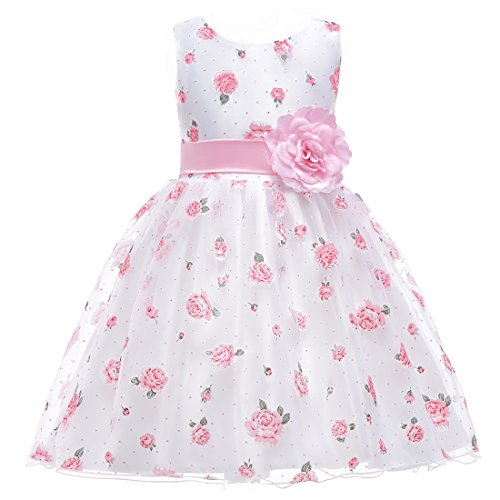 Berngi Flower Girl Dress for Girls Wedding Gowns Children Kids Party  Princess Dresses Formal Occasions (White f40050307d19