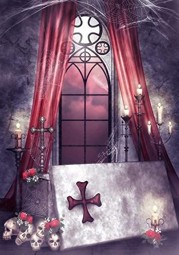 3x5FT Laeacco Vinyl Thin Photography Background Children Photos Backdrop Halloween Blood Stained Cross Dreamlike Light Horrible Indoor Room Curtain Skulls Background Photo Studio Props (Halloween Skulls Background)