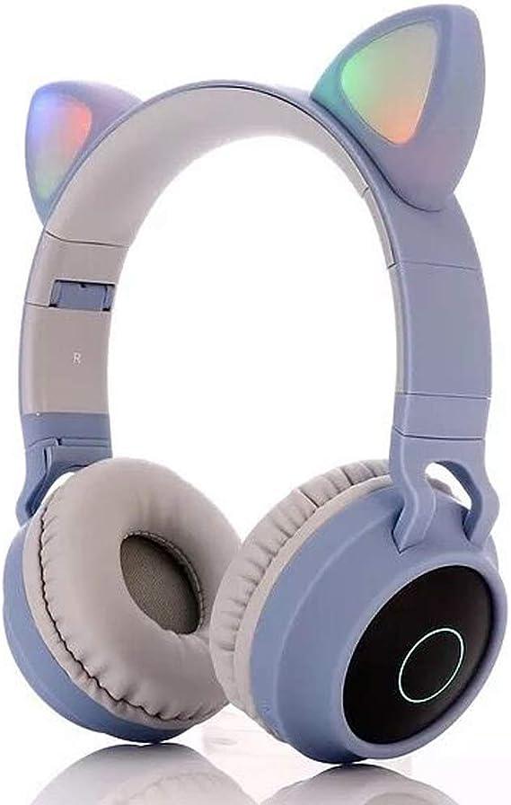 Bluetooth Kopfhörer Over Ear Cat Ear Led Kabellos Faltbare Kopfhörer Kabellose Kopfhörer Noise Cancelling Eingebautes Mikrofon Weiche Ohrpolster Für Iphone Ipad Android Laptops Grau Blau Musikinstrumente