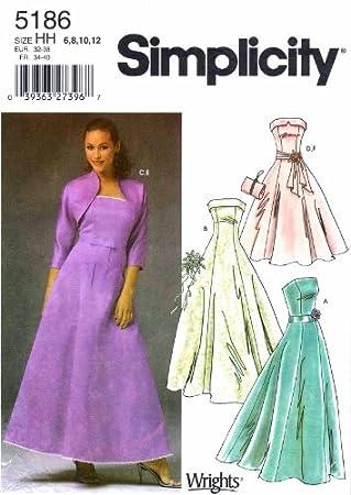 Simplicity 5186 Schnittmuster Damen Abendkleid Bolero Geldbörse ...