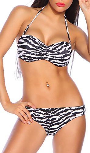 jowiha® Sexy Neckholder Bandeau Push Up Bikini im Zebra Print