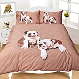 Night Zone Britsh Bulldog 3D Photographic Print Duvet Cover Set, Multi, Super King by Nightzone