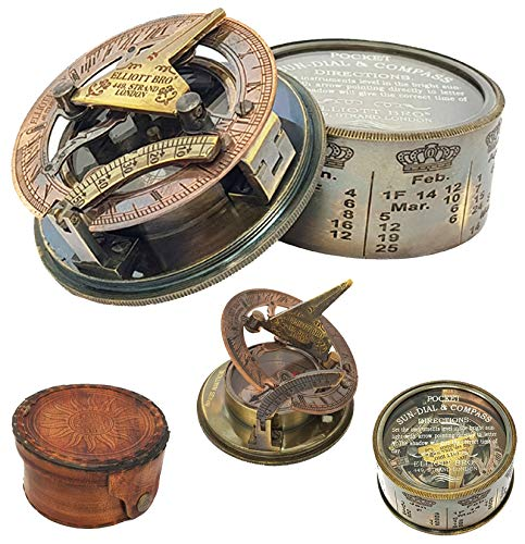 Brass Nautical - Antique Box Sundial Compass Replica in Leather Box