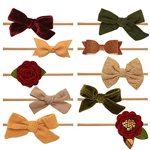 Baby Girl Headbands and bows - Nylon Headband Fits newborn toddler infant girls Fall Colors Mustard Navy Burgundy (Giselle Collection)