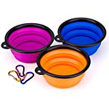 IDEGG Collapsible Silicone Dog Bowl, Set of 3, Food Grade Silicone, BPA Free, Foldable Expandable Cup Dish for Pet Raised Dog/Cat Food Water Feeding Travel camping Bowl (Set of 3, Blue+Orange+Purple)