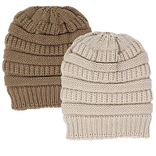 Me Plus Winter Fleece Lined Soft Warm Cable Knitted Beanie Hat for Women & Men