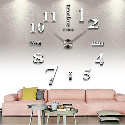 CUGBO DIY Wall Clock Modern Large 3D Wall Clock Mirror Stickers Home Office Decor,Silver (Diy Clock)