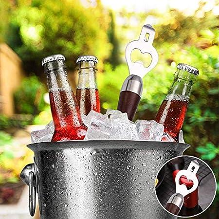 Abrebotellas, Abrelatas Mango de madera Abrebotellas de cerveza Portátil Duradero Abrebotellas de madera natural Gran regalo para hombres Soda Glass de abridor Bar Gadget de Fiesta