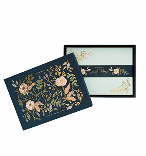 Collette Gold Foil Floral Social Stationery Flat Note Cards by Rifle Paper Co. -- Set of 12 Cards and Envelopes