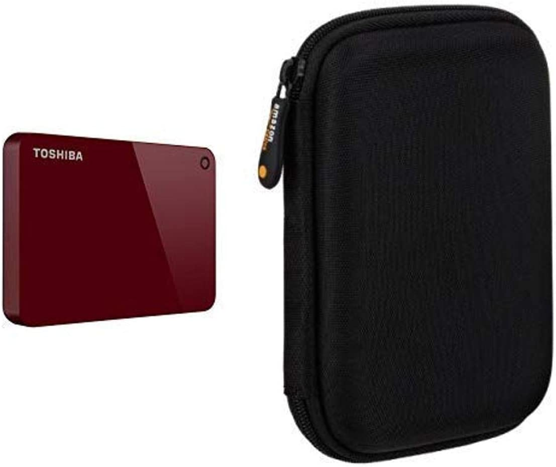 Toshiba Canvio Advance 1TB Portable External (Red) with AmazonBasic External Hard Drive Case Bundle