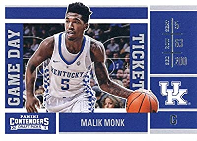2017-18 Panini Contenders Drafts Picks Game Day Tickets #4 Malik Monk Kentucky Wildcats Basketball Rookie Card