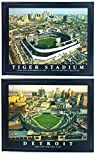 Framed Detroit Tigers Aerial Comerica Park and Tigers Stadium Set Print Wall Art F2506