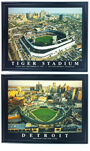 (Framed Detroit Tigers Aerial Comerica Park and Tigers Stadium Set Print Wall Art F2506)