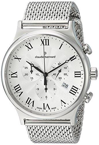 Claude Bernard mens 10217 3M AR1 Classic Analog Display Swiss Quartz Silver Watch