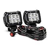 Nilight ZH009 barra de luz LED, 2 unidades, 18 W, luces de carretera con juego de arnés de cableado de 16 AWG, 2 cables