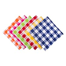"DII 100% Cotton, Basic Everyday 18x18"" Buffet Napkin, Set of 6, Assorted Checkers"