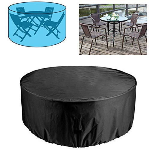 JS-YHLUSI Black Round Table Chair Waterproof Dust Guard Furniture Protective Cover, Suitable for Outdoor Garden Patio Beach (Customizable),210Dpolyester,230110CM