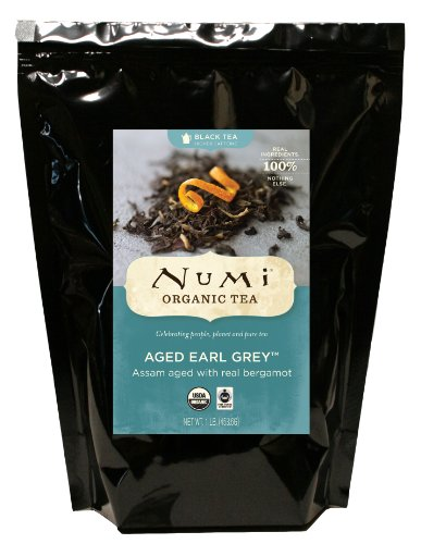Numi Organic Tea Aged Earl Grey, 16 Ounce Bulk Pouch, Italian Bergamot Blended Loose Leaf Black Tea, Organic Black Tea with Bergamot Aged Together to Naturally Absorb the Citrus Flavor