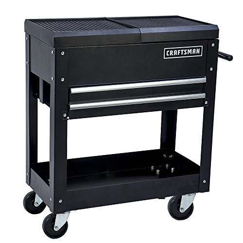 Steel Tool Cart - Craftsman Tool Box Cart, 350 Lb Large Capacity, Steel Sliding Drawer, Black
