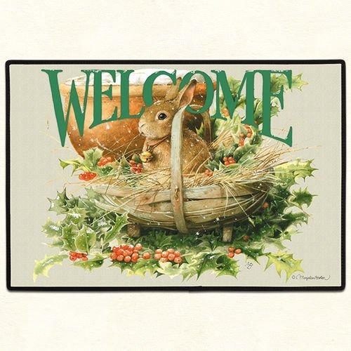 Fiddler's Elbow Bunny Rabbit Holly Berry Welcome Indoor/Outdoor Doormat