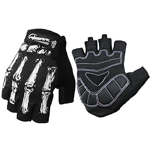Youth Pro Cool Ghost Claw Half Finger Gloves Padded For Cycling Biker Outdoor Research Adventure Camping Mountaineering Exercise Racer Motorcycles Indoor/Outdoor Sports Best Gift (White, L)
