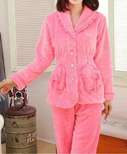 QPALZM Sra De Otoño E Invierno Pijamas De Visón Terciopelo Super Suave Ropa Interior Cómoda Y Cálida plushpink
