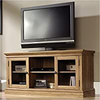 Pemberly Row Entertainment Credenza in Scribed Oak
