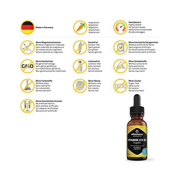 Vitamine D3 + K2 Gouttes 1000 UI à Forte Dose Vitamine D3 + K2 Végétarien & Liquide (99,7+% All-Trans MK-7), 50 ml (1700…