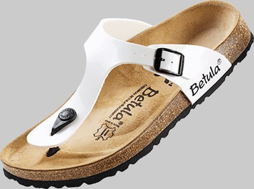 Betula thong Rose in size 37.0 N EU made of Birko-Flor in White Patent with a narrow insole