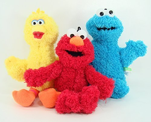 Sesame Street Classic Plush - 3 Pcs Set - Includes Elmo, Big Bird, and Cookie Monster (Bird Cookie Elmo Big)