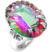 khamchanot 925 Silver Ring Huge 8.9CT Mystic Rainbow Topaz Women Men Cocktail Size 6-10 (10)