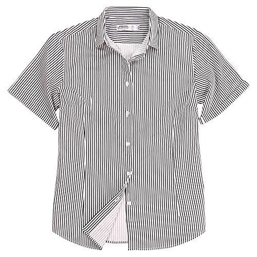 (Urban Boundaries Womens Basic Tailored Short Sleeve Cotton Button Down Shirt (Black/White Stripes, Medium))
