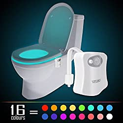 Motion Activated Toilet Night light, WEBSUN 16 Color Changing LED Toilet Seat Light