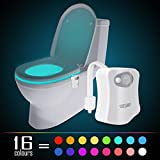 Led Toilet Seat Motion Activated Toilet Night light, WEBSUN 16 Color Changing LED Toilet Seat Light
