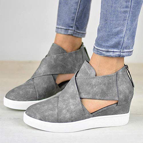 FALAIDUO Shoes Inside Casual Solid Shoes Increase Hollow Sexy Cross Zipper Color Wedges Matte Party Women Grey Fashion gxqrIgU