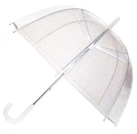 Ardisle Paraguas transparente con mango blanco, cúpula profunda