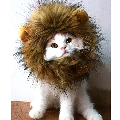 Hoopet Lion Mane Wig Costume with Ears for Pet Dog and Cat Cosplay Apparel Lion Hat Perfect for Halloween Christmas Festival Party,Fit Small Animal Puppy Kitten (Brown)