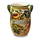 Handmade Toscana Fiore Utensil Holder From Italy
