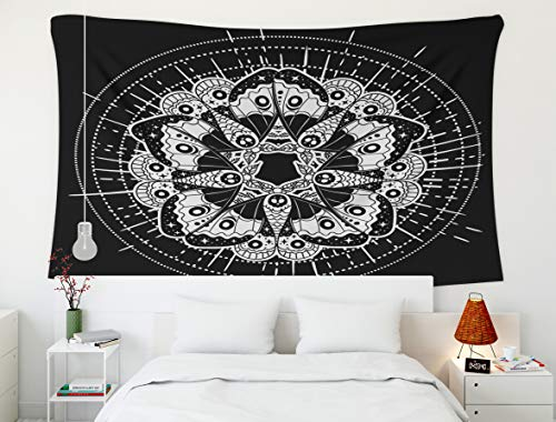 Tapestry for Men,Boho Butterfly Tattoo,Tapestry,Shorping 80x60 Inch Home Wall Hanging Tapestries Art for Décor Living Room Dorm Hand drawn illustration of the beautiful moth Vector illustration Fantas -