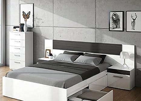 SERMAHOME- Conjunto de Cabecero, 2 Mesitas de Noche y Cómoda en Madera Color Blanco/Negro Malla. Medida cabecero y mesitas: 247 x 92 x 36 cm. Medidas ...