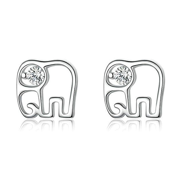 Reiko Elefante Africano Circonita Aretes,Pendientes De Plata De Ley 925 Para Mujer Y Niña