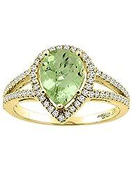 14K Gold Natural Peridot Ring Pear Shape 9x7 mm Diamond Accents, sizes 5 - 10
