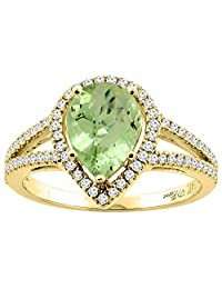 14K Gold Natural Peridot Ring Pear Shape 9x7 mm Diamond Accents, sizes 5 - 10