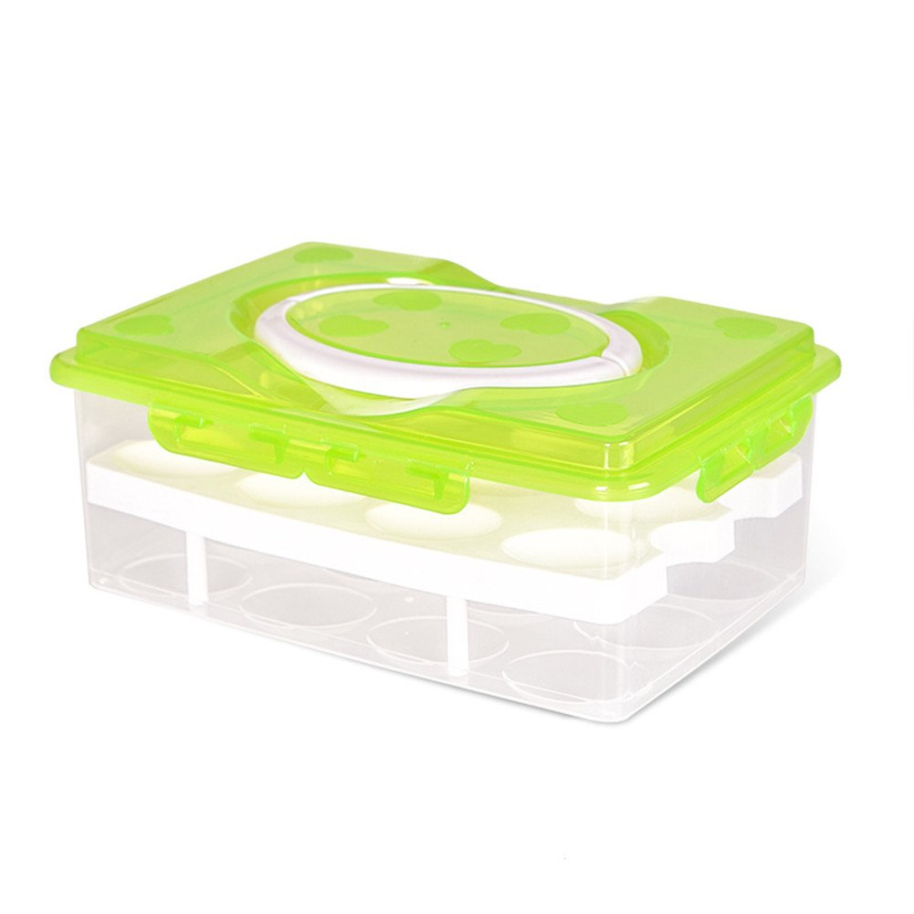 Daixers Ortable Large Capacity Double-layers Egg Storage Container Holds 24 Eggs Shatter-proof Non-slip Eggs Holder with Handle (Green)