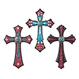 Collections Etc Southwest Turquoise Decorative Wall Crosses - Set of 3