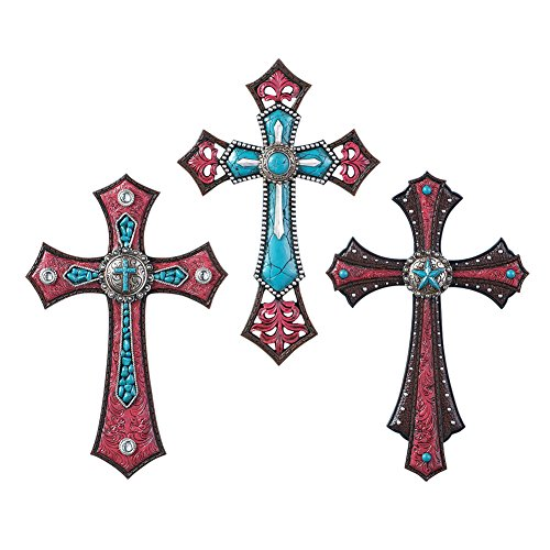 Southwest Turquoise Decorative Wall Crosses - Set of 3