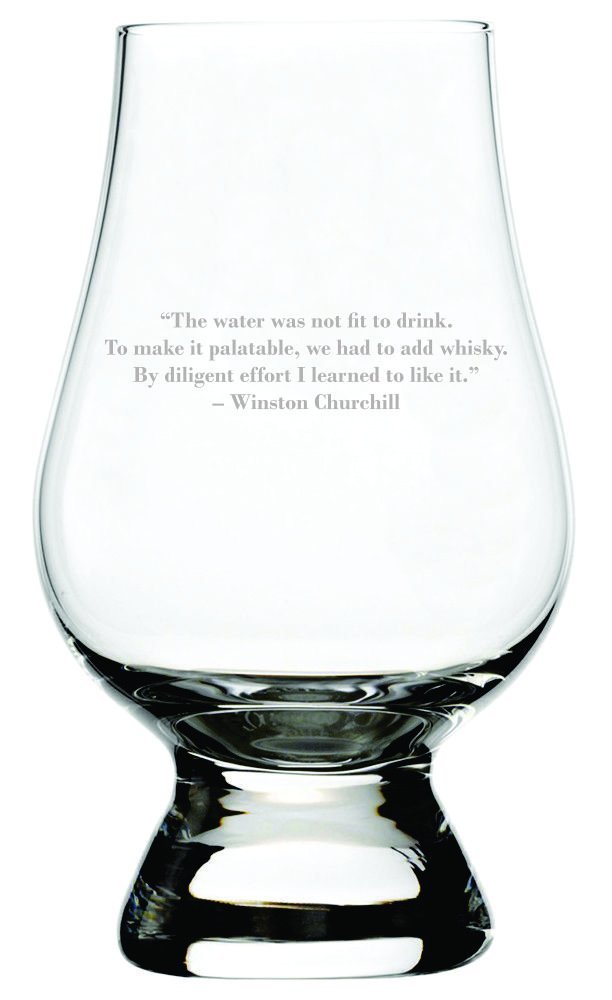 Winston Churchill Quote Etched Glencairn Crystal Whisky Glass by Etched Laser Art