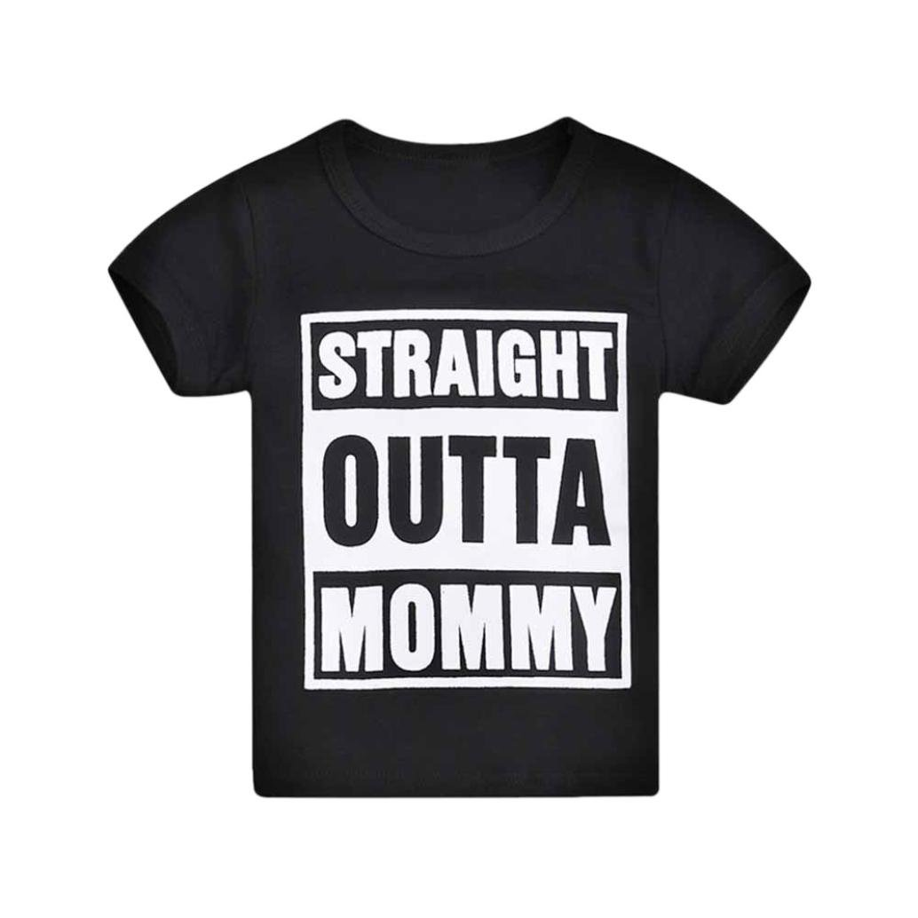 Staron Toddler Baby T-Shirt Tops Clothes Boys Short Sleeve Mommy Letter Print Outfits