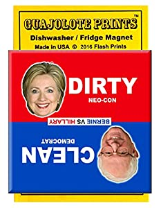 Clean Dirty Dishwasher Magnet Funny Crooked Hillary and Bernie Sanders Political Gag Gift